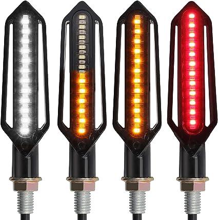 Lot de 2 FEZZ Moto LED Clignotants Indicateurs Ecoulement Ambre Feux de Jour DRL Blanc 24 Ampoules Universel DC 12V