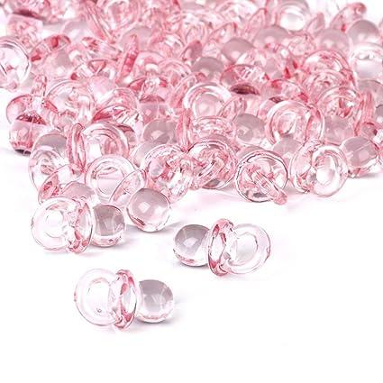 ROSENICE Chupetes de acrílico claro Baby Shower favorece 50pcs (rosa)