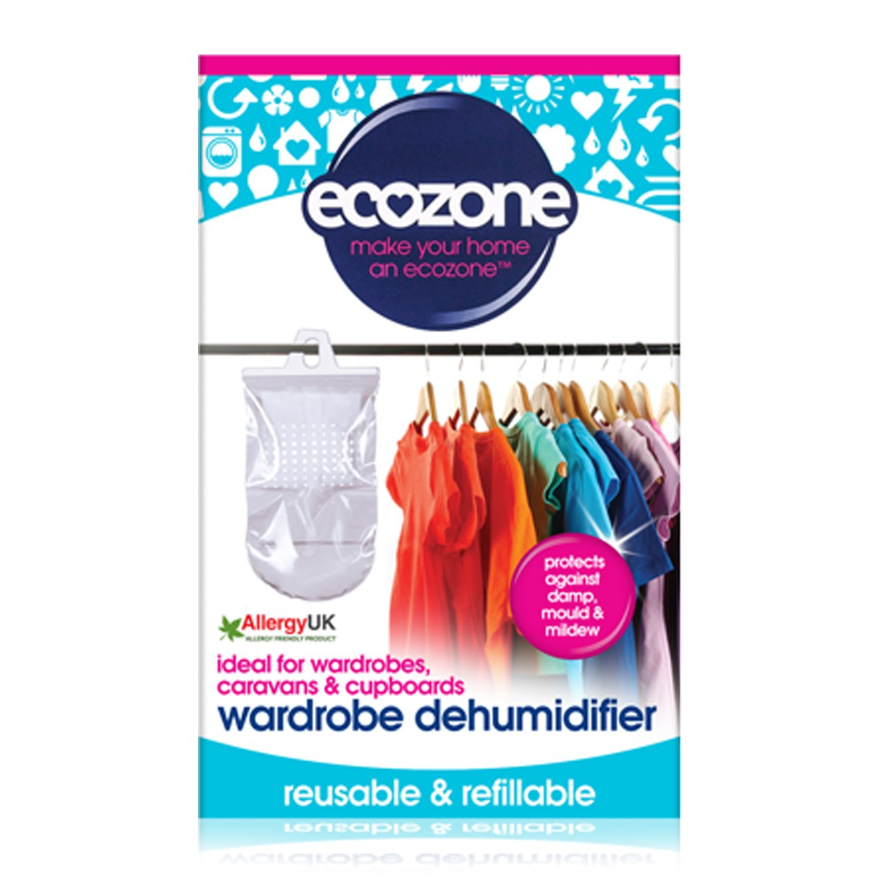 Ecozone Hanging Wardrobe Dehumidifier 532 g (Pack of 12) Ecozone Ltd 76495