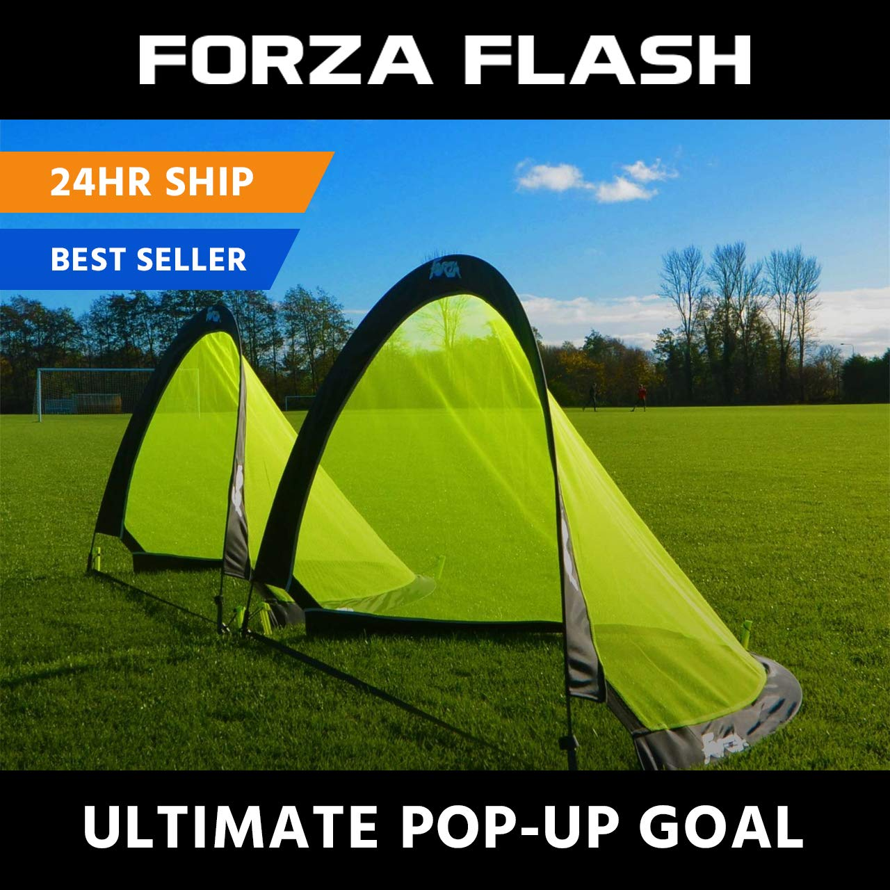 Forza Flash Pop Up Soccer Goal - Ultimate Pro Portable Soccer Nets with Carry Bag - Available in 2.5ft, 4ft & 6ft - [Net World Sports] (2.5ft)