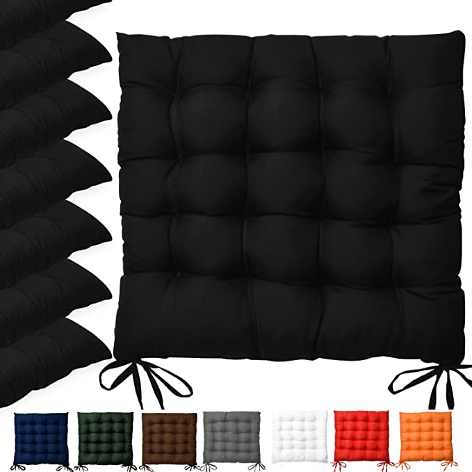Beautissu Set 6 Lea - comodísimos Cojines para sillas - Vivienda o terraza - 40 x 40 x 5 cm - Negro