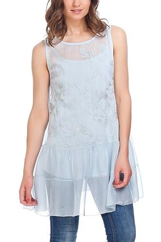 Laura Moretti - Blusa Maxi Doble Capa con Camiseta de Tirantes y Cubierta de Seda con Flores Bordadas