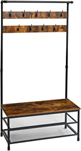 YMYNY Industrial Hall Tree with Storage Shelf, Coat Rack Entryway Bench with 9 Hooks, Large Size Wood Look Accent Furniture for Hallway, Bedroom, Living Room, Easy Assembly, Rustic Brown UTMJ002H