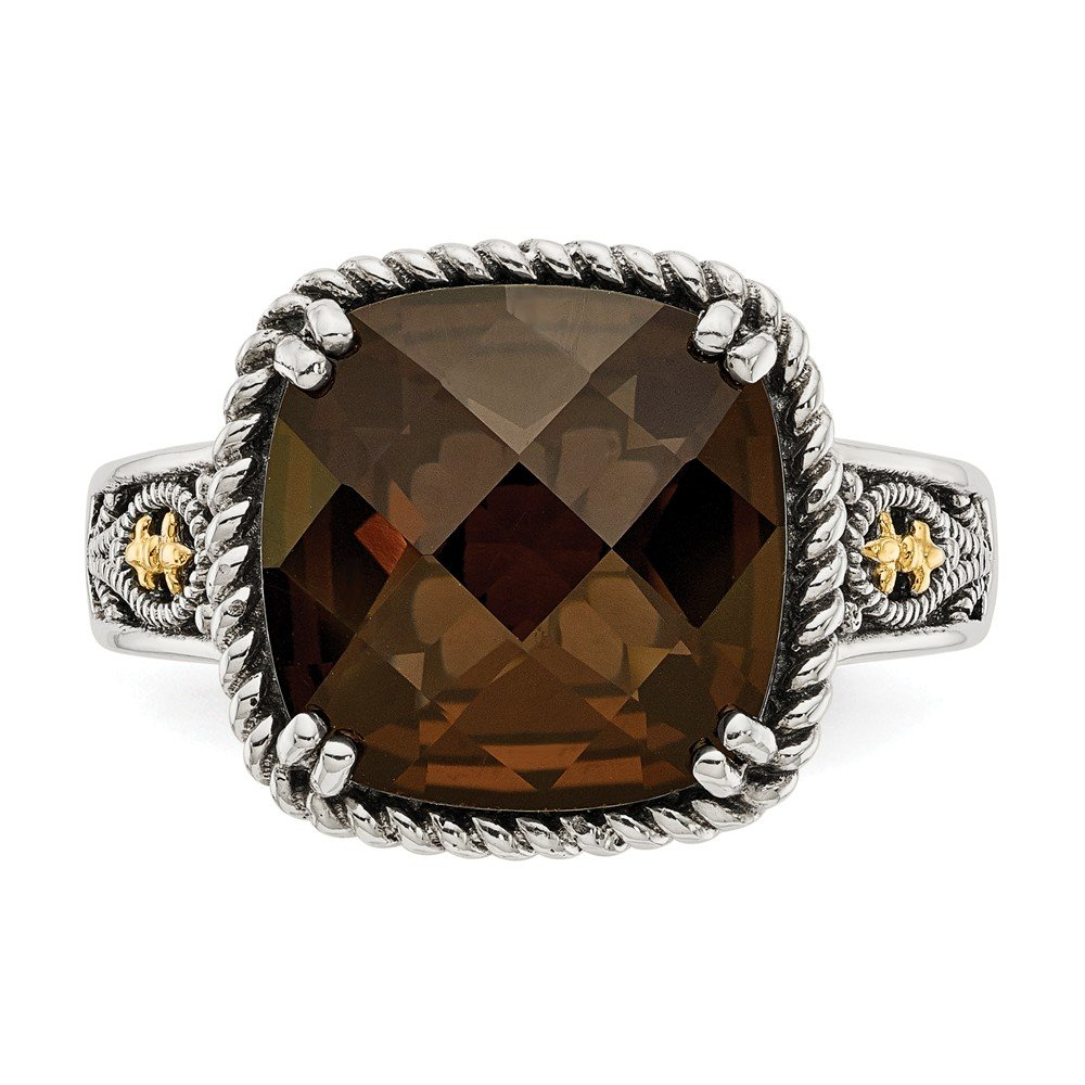 Shey Couture Sterling Silver with 14k Smoky Quartz Ring Size 7