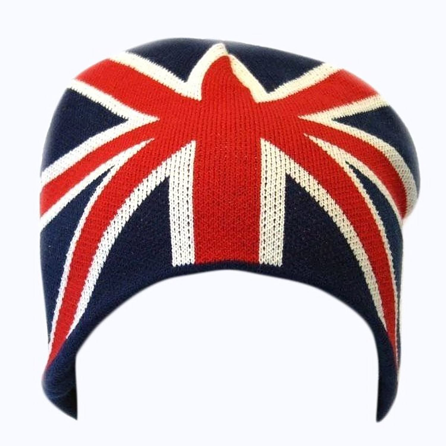 amazon com mens great britain union jack flag winter beanie hat
