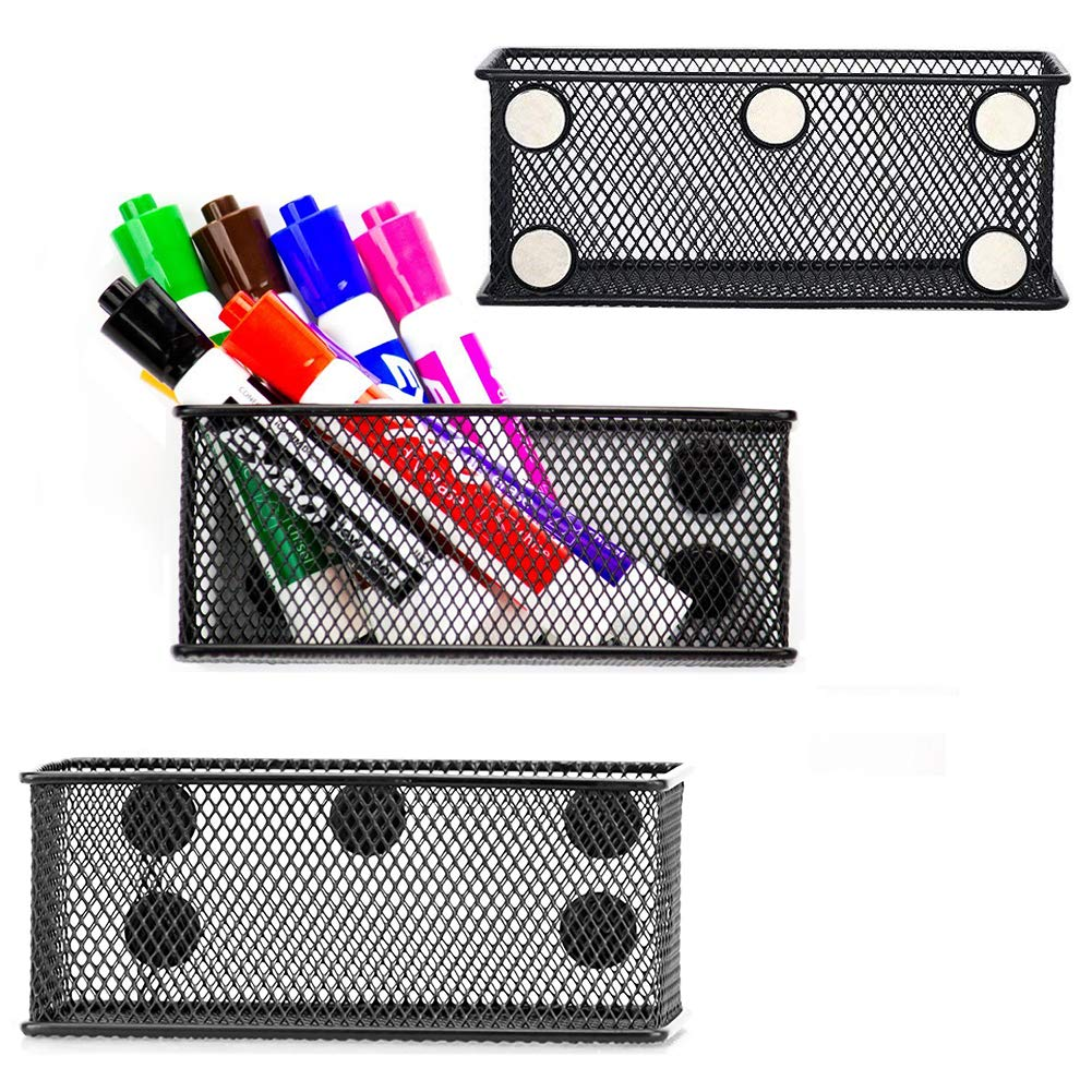 EASEPRES Magnetic Pencil Holder Set of 3 - Black Wire Mesh Storage Baskets Organizer with Strong Magnets - Perfect for Whiteboard, Refrigerator and Locker Accessories