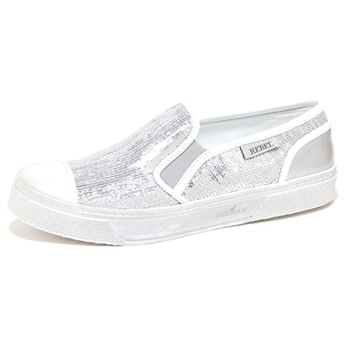 6516P sneaker donna HOGAN REBEL SLIP ON argento/bianco shoe woman