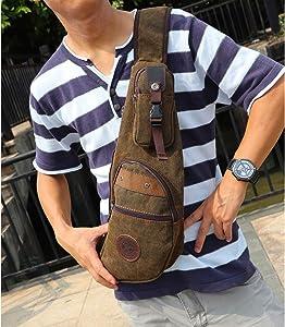 Outreo Pecho Bolsos Hombre Bolso Bandolera Originales de tela Vintage Bolsas de Viaje Bolsa Sport Chest Bag Outdoor Montaña Colegio Casual Pequeñas