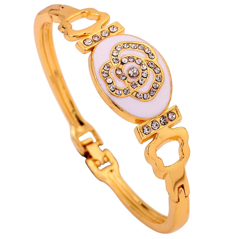 DVANIS Jewellery Gift Oval Carve Rose Flower Crystal Inlay Gold Plated Bracelet Bangle Women