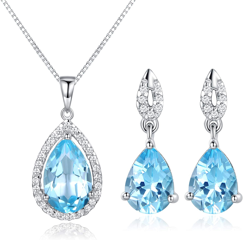 925 Sterling Silver Rhodium-plated Blue Topaz /& Diamond Hoop Earrings
