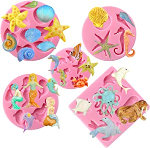 FUNSHOWCASE Mini Sea Creatures Summer Beach Theme Candy Silicone Mold for Sugarcraft, Cake Decoration, Cupcake Topper, Fondant, Jewelry, Polymer Clay, Crafting Projects, Random Colors 5 in Set