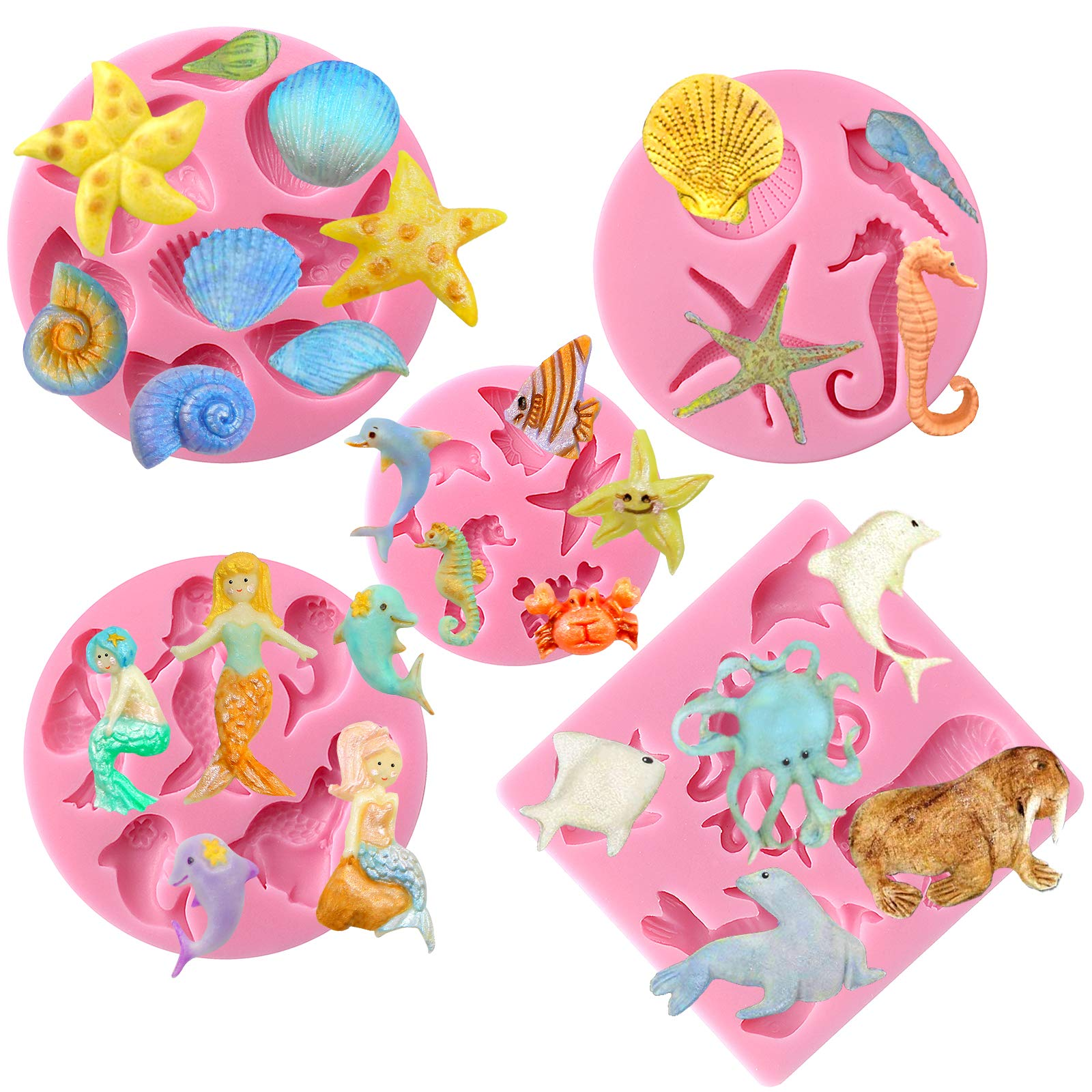 Funshowcase Mini Sea Creatures Summer Beach Theme Candy Silicone Mold for Sugarcraft, Cake Decoration, Cupcake Topper, Fondant, Jewelry, Polymer Clay, Crafting Projects, 5 in Set