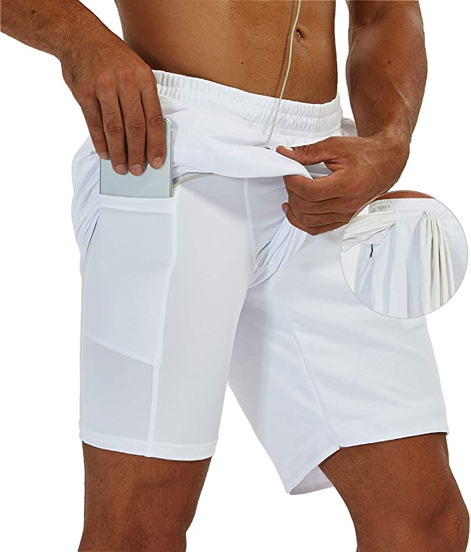 SILKWORLD Mens 2 in 1 Athletic Running Gym Workout Shorts with Zipper Pockets /& Towel Loop