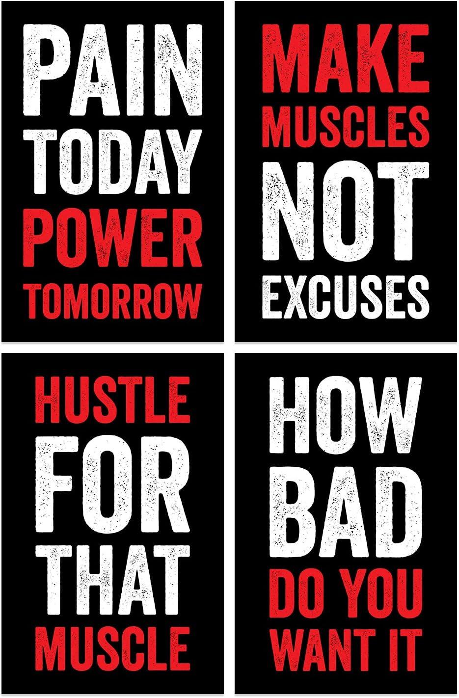 Damdekoli Gym Posters, 11x17 Inches, Set of 4, Wall Art, Hustling, Motivational Inspirational, Fitness Lifting Workout Print Color