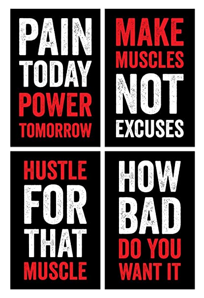 Damdekoli Gym Posters, 11x17 Inches, Set of 4, Wall Art, Hustling,  Motivational Inspirational, Fitness Lifting Workout Print Color