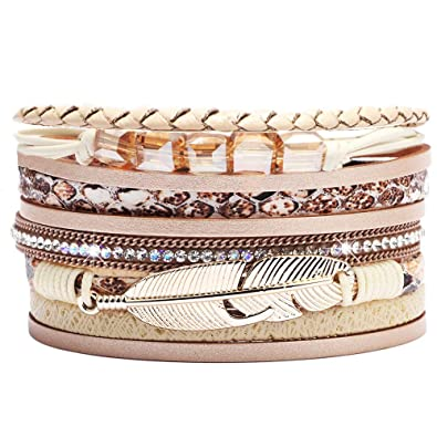 9ed8c55f98d ANGELFLY Leather Wrap Boho Multilayer Wide Cuff Feather Handmade Wristbands  Wrist Braided Magnetic Buckle Casual Bangle Bracelet for Women, Teen Girl,  ...