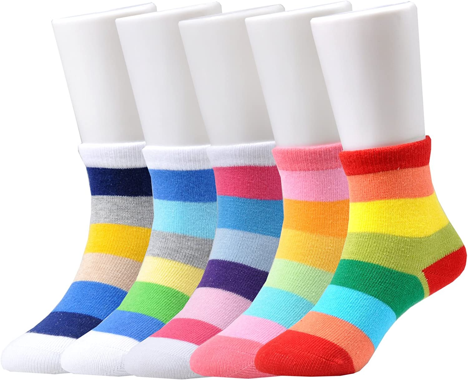 Image result for Epeius Kids Girls' 5 Pack Seamless Rainbow Stripes Crew Socks
