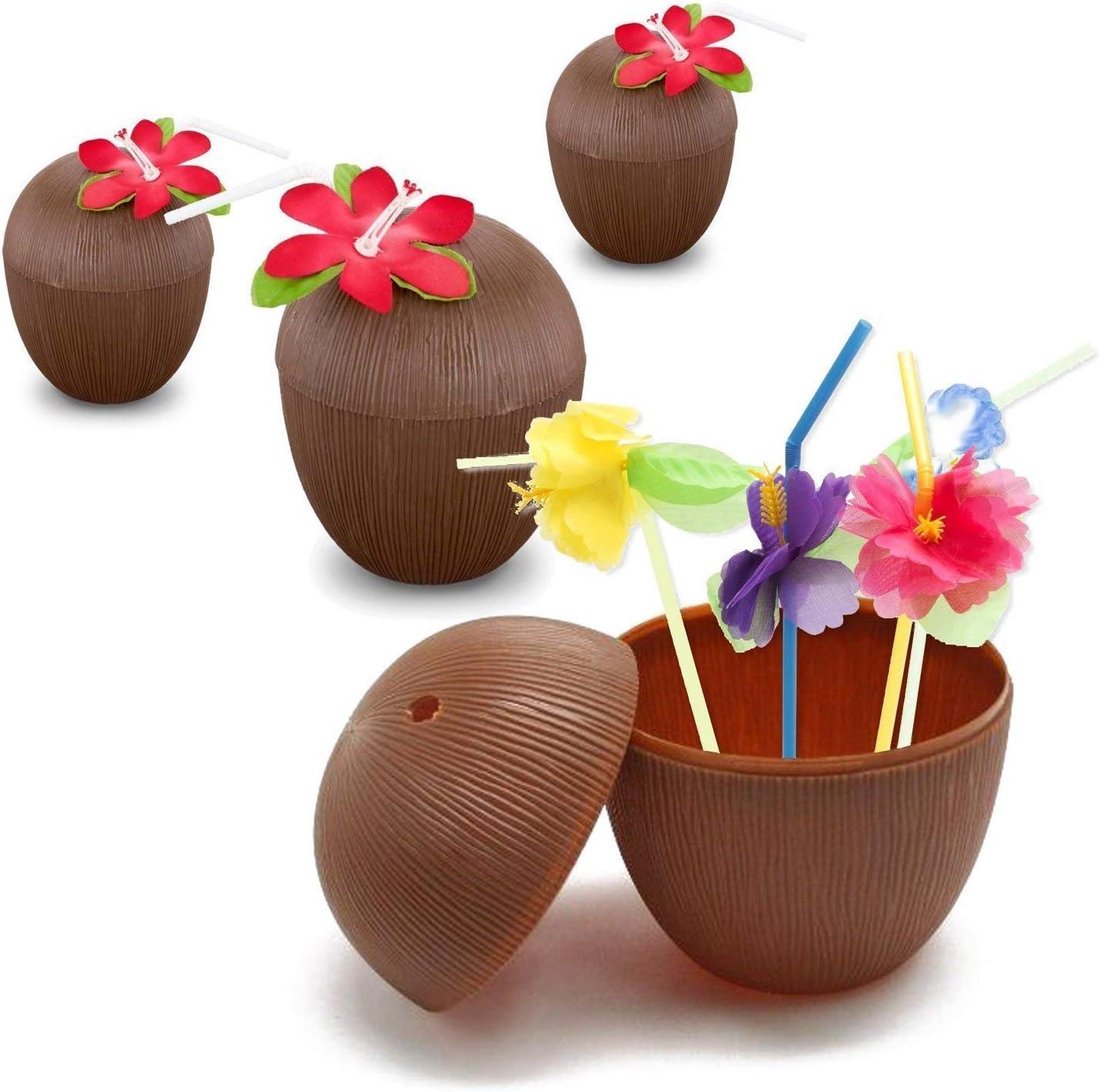 Uteruik Vasos de pl/ástico de Coco Hawaiano para Fiestas Vasos con pajitas de Flores para Playa tem/ática Suministros de Fiesta 6 Unidades