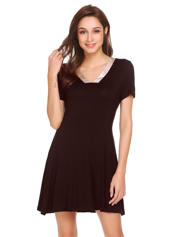 Brown Elaver Sleepwear Women's Satin V Neck Sleepshirt Short Sleeve Nightgown Pajamas Loungewear Plus Size SXXL