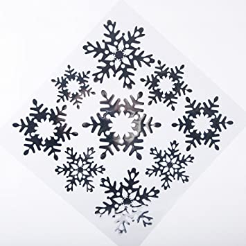 Christmas Window Snowflake Stickers With Glitter Amazoncouk - Snowflake window stickers amazon