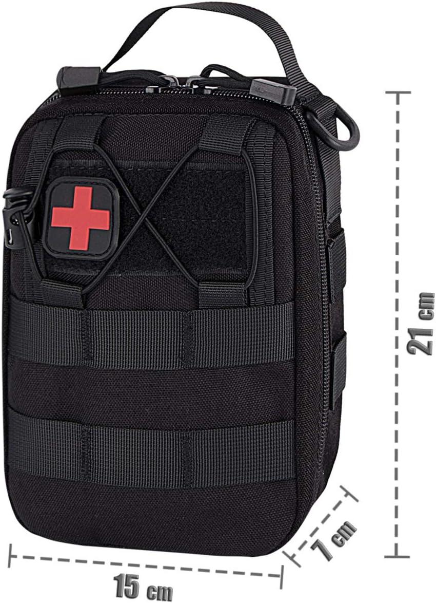 Shidan Tactique Kit de Survie durgence Molle Pochette EDC Sac de Taille pour Gadget Utilitaire avec Bandouli/ère Amovible