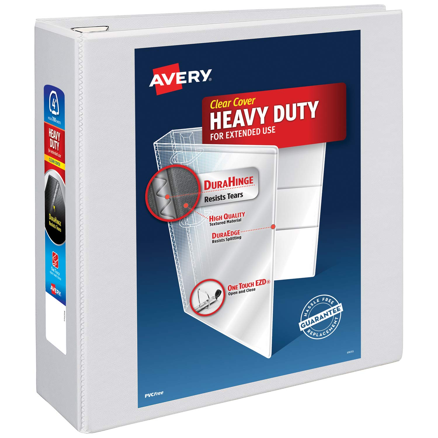 Avery Heavy Duty View 3 Ring Binder, 4'' One Touch EZD Ring, Holds 8.5'' x 11'' Paper, 1 White Binder (79104) by AVERY