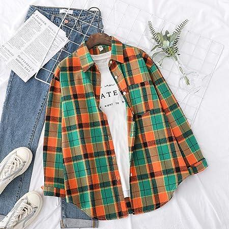 Camisa Camisas a Cuadros de otoño Blusas para Mujer y Manga ...