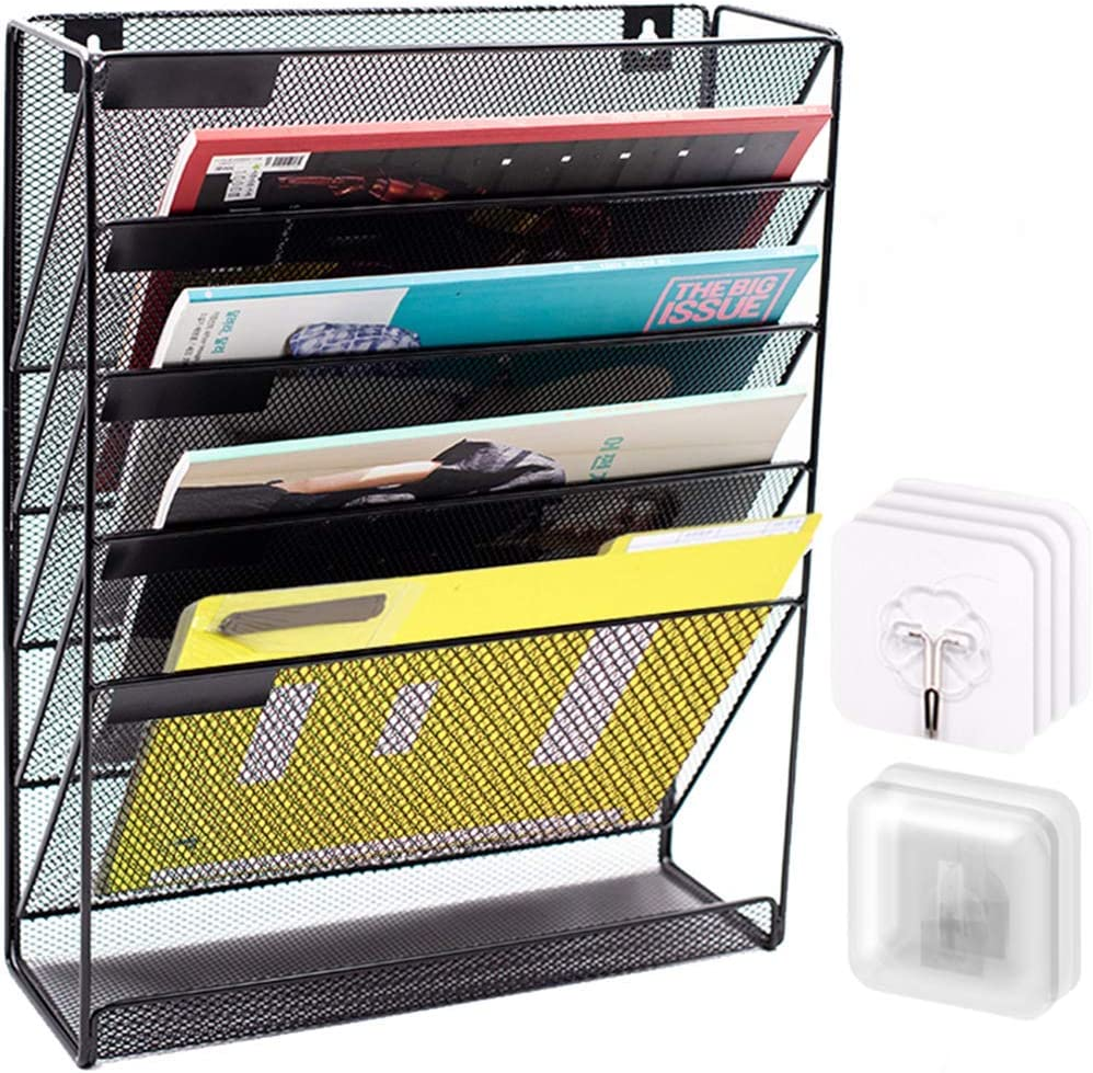 Vasel Wall File Organizer Mesh-5 Tier Vertical Mount Hanging Holder with Bottom Flat Tray-for Office Home,NO Drilling,Black