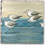 Counter Art CART11914 Sandpipers on the Beach Single Tumbled Tile Coaster