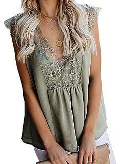 Shawhuwa Womens Lace Tank Tops V Neck Cami Sleeveless Loose Summer Tops Tunic Shirts Blouses