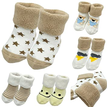 Amazon Com Baby Warm Sock 5 Pairs Baby Boys Thick Turn Cuff Ankle