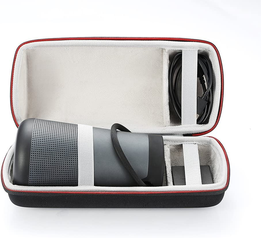 Fits USB Cable and Wall Charger. Gray Lining Hard Case Travel Carrying Storage Bag for Bose SoundLink Revolve Bluetooth Speaker Black