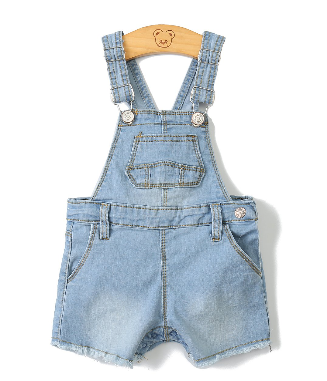 Baby Girls/Boys Big Bibs Raw Edge Light Blue Summer Jeans Shortalls,Light Blue,2-3 Years