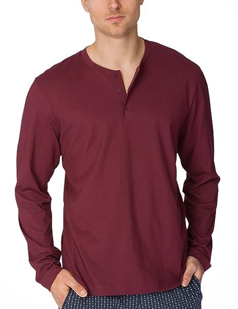 Calida Remix 1 Shirt Langarm, Camiseta de Pijama para Hombre, Rojo (English Red