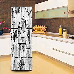 "Customized Door Fridge Sticker Closet Cover,Women Faces with Different Eye Makeup Eiffel Tower Romance Paris Image Vinyl Door Cover Refrigerator Stickers,24x70"",for Home Decor,Black White Grey"