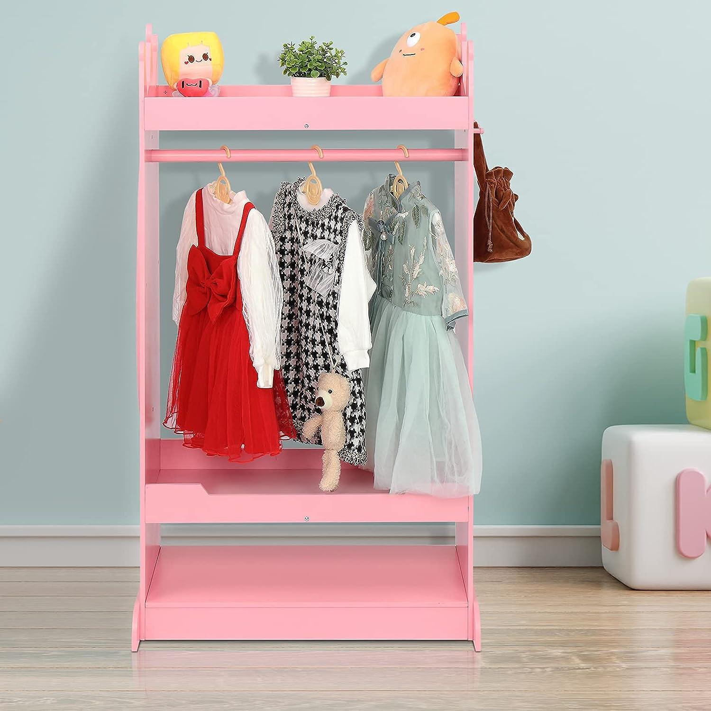 JOYMOR Kids Dress Up Storage with Mirror, Kids Costume Organizer Center, Open Hanging Armoire Dresser Unit, Kids Closet Furniture with Clothes Hook, Shelf and Rod (Pink)