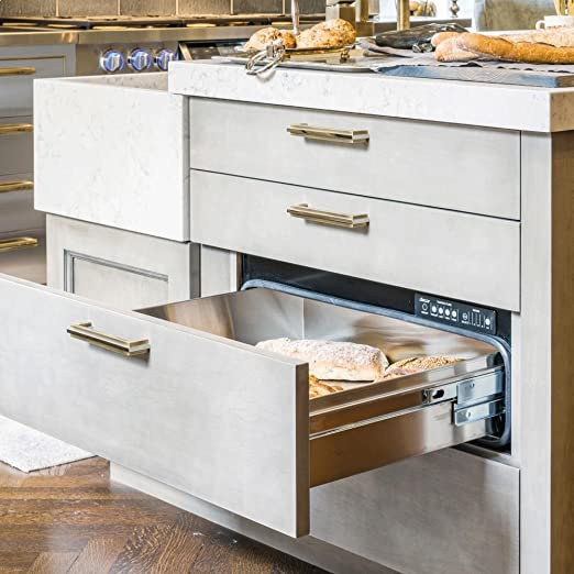 with SS Handle and Chrome Renaissance Epicure Warming Drawer With Blue LED Light Indicator 4 Timer Settings Plus Infinite Mode 500 Watt Heating Element /& 30-in