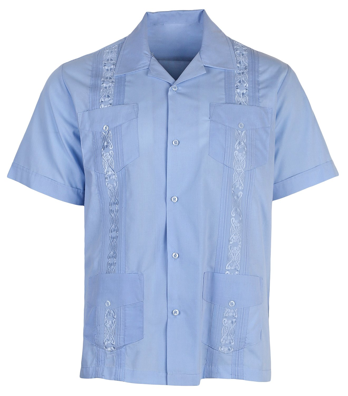 Urban Fox Mens Guayabera Shirts for Men | Short-Sleeve Shirt | Cuban | Wedding | Barong | Beach | Sky Blue, X-Large
