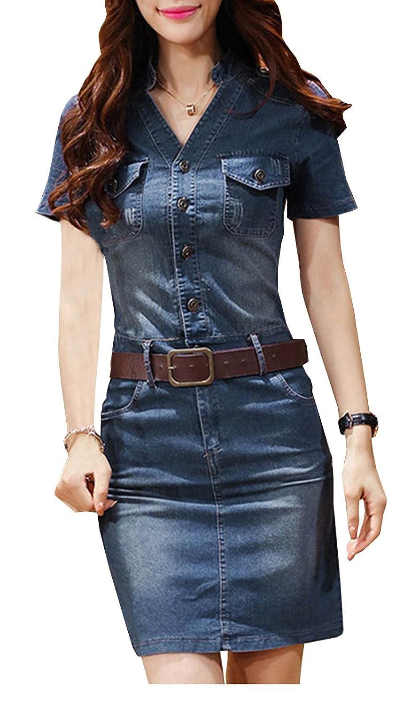 Zoulouyou Damen Jeanskleid V-Ausschnitt Retro Denim Kleid Blusekleid Cocktail T Shirt Kleid Kurze Ärmel Knopf Sommerkleider Dress mit Gürtel