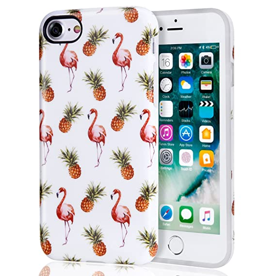 reputable site c95ef 4275f Pineapple iPhone 7 Case for Girls, iPhone 8 Case, Best Protective Cute Red  Flamingo Women Clear Slim Shockproof Glossy Soft Silicone Rubber TPU Cover  ...