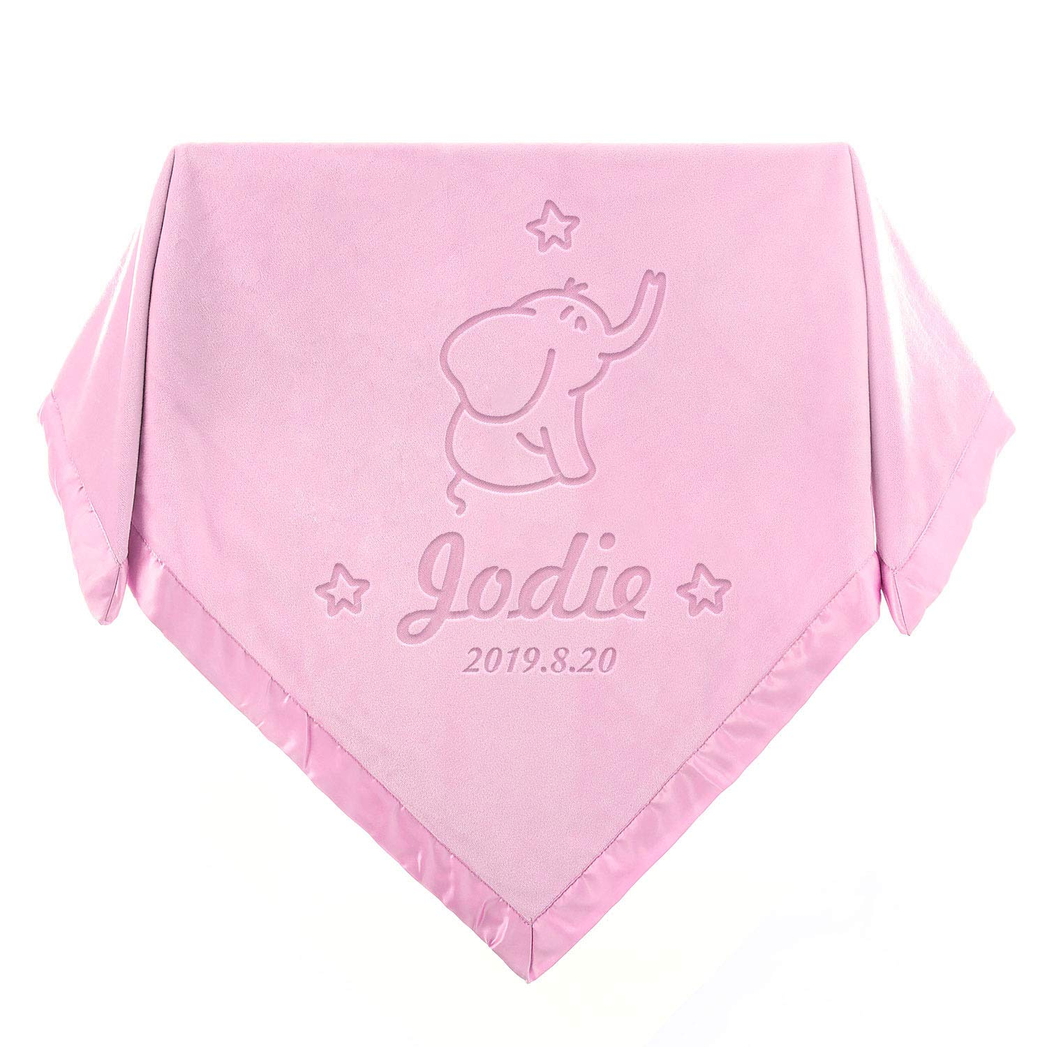 Satin Trim Custom Blanket with Name 36x36inch Pink Infant Wrap Crib Blanket AW Elephant Baby Blanket Personalized Newborn Gifts for Baby Girls