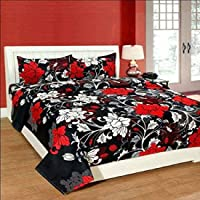 DOLLY HANDLOOM 3D Printed Polycotton Double Bedsheet with 2 Pillow Covers(Black, 220x235cm)