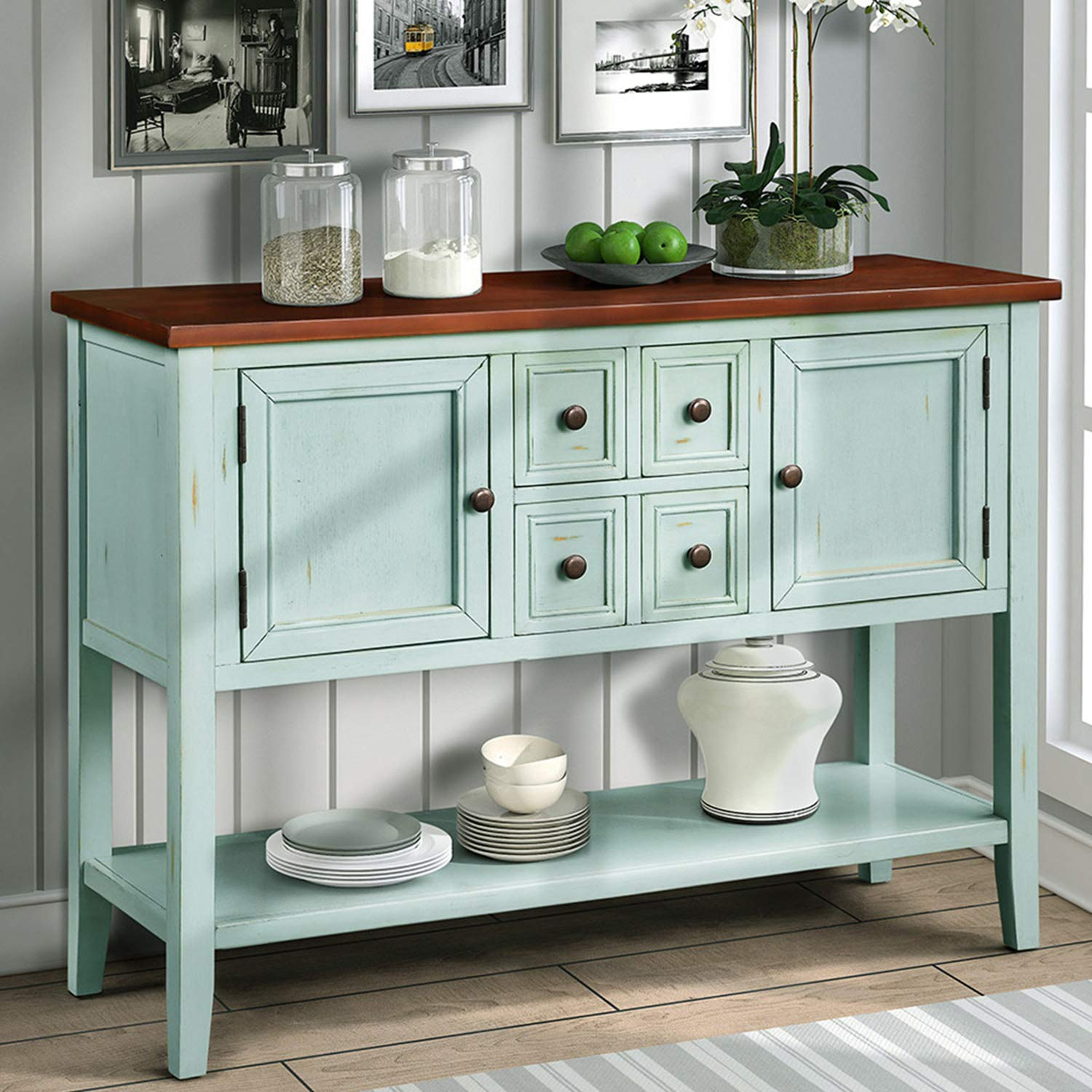 P PURLOVE Console Table Buffet Sideboard with Storage Drawers Cabinets and Bottom Shelf Retro Blue