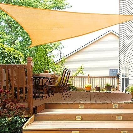 ZHENN Toldo Vela de Sombra Triangular Color Arena Prevención Rayos UV Solar protección Piel Transpirable para Jardín Patio con el Kit de Fijación: Amazon.es: Deportes y aire libre
