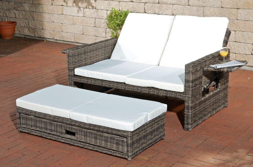CLP flexibles Poly-Rattan 2er Lounge-Sofa ANCONA, ALU-Gestell, ausziehbares Fußteil, 7 Farben + 3 Rattan Stärken wählbar, inkl. Auflagen Rattan Farbe grau-meliert, Stärke 5 mm, Bezugfarbe: Cremeweiss