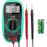 Pocket Digital Multimeter Testers DC AC Voltmeter Multimeters with Ohm Volt Multimeter Amp Test and Diode Tester Meter,LCD Display and Rubber Case, (EMAX3)