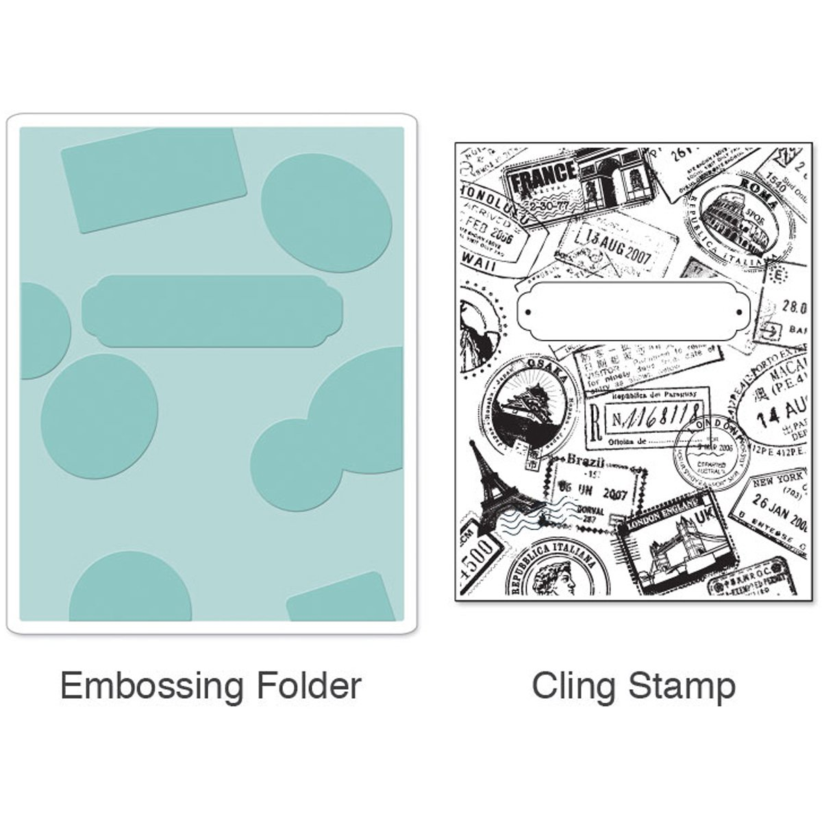 Sizzix Textured Impressions Embossing Folder with Stamp - Postage & Frame  Set by Hero Arts by Sizzix
