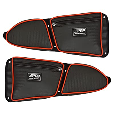 Pair of Side Door Bags For Stock 2 Seat Polaris RZR XP 1000 Doors With Red Piping - One Driver Side Bag, One Passenger Side: Automotive