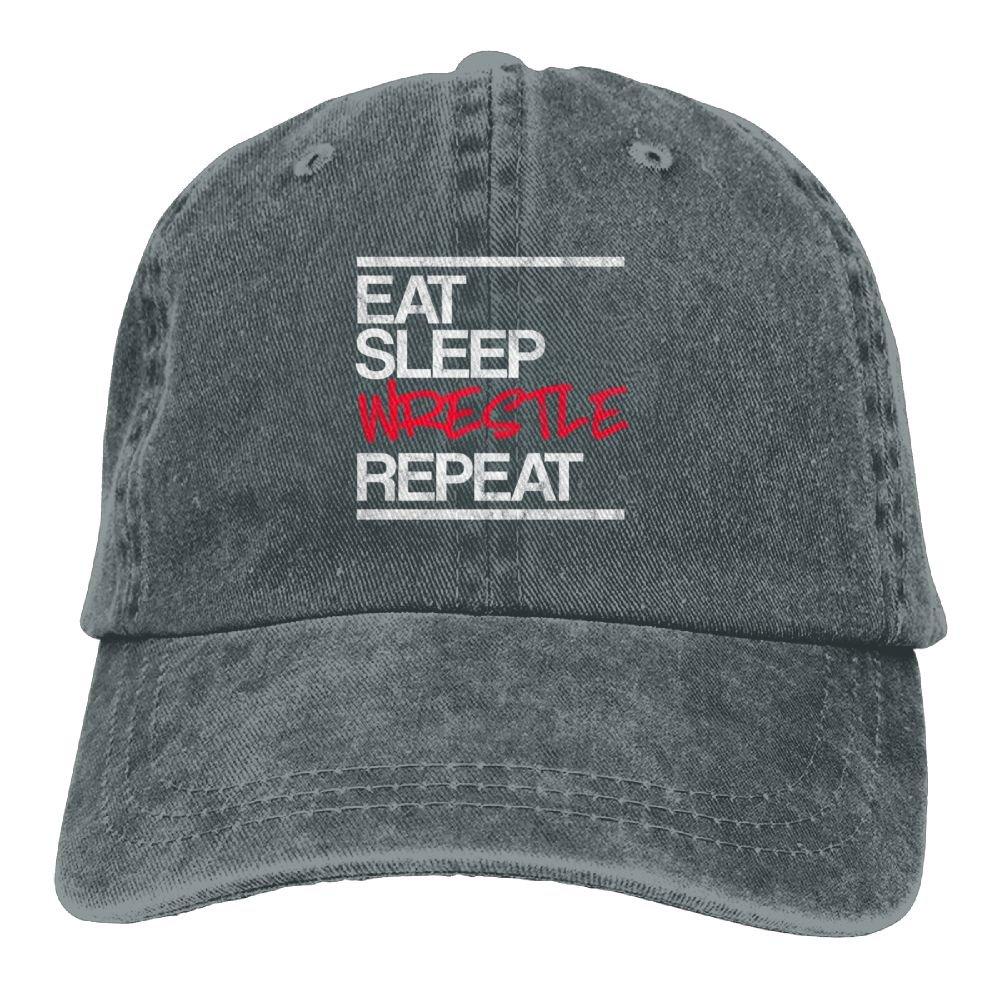 Arsmt Eat Sleep USA Wrestling Denim Hat Adjustable Womens Curved Baseball Cap by Arsmt