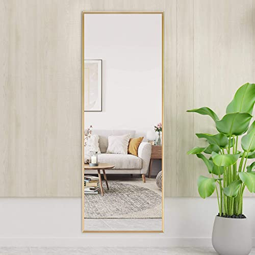 Elevens Metal Aluminum Alloy Frame Full Length Floor Mirror 65″x22″ Large Rectangle Body Wall Mirror